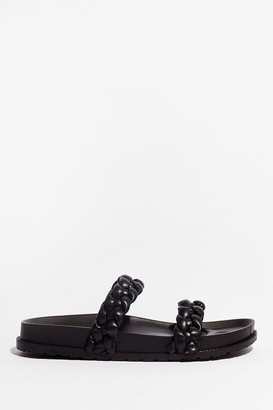 Nasty Gal Womens World At Your Feet Faux Leather Braided Sandals - Black
