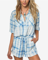 O'Neill Juniors' Plaid Elbow-Sleeve Romper