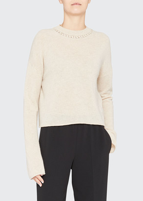 Theory Cashmere Crewneck Ribbon Long-Sleeve Sweater