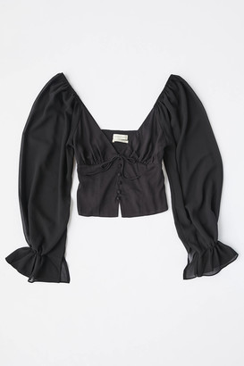 Urban Outfitters Topanga Button-Front Cropped Blouse