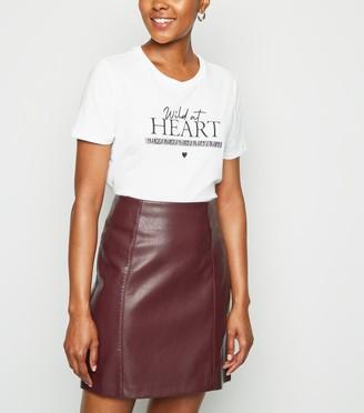 New Look Coated Leather-Look Mini Skirt