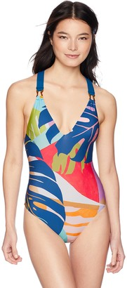 Trina Turk Women's V-Front Cross Back One Piece Swimsuit