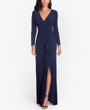 Betsy & Adam Ruffled Side-Slit Gown & Face Mask
