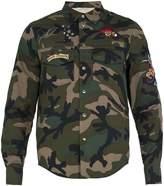 Valentino Bead-embellished camouflage-print cotton shirt