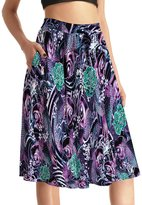 THUNDERSTAR Plus Size Womens Skirt Elastic Waist Printed Pockets Knee length 0007 XXXXL