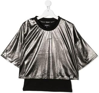 DKNY TEEN metallic-print logo-print T-Shirt