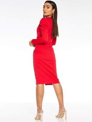 Quiz Scuba Crepe Wrap Front Skirt Puff Sleeve Dress - Red