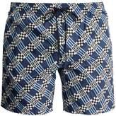 Fendi Logo and geometric-print swim shorts