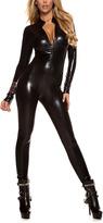 Forplay Black Metallic Front-Zip Jumpsuit Costume