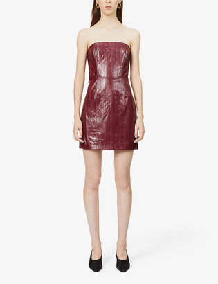 Rotate by Birger Christensen Herla strapless faux-leather mini dress