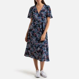 Esprit Floral Print Wrapover Midi Dress