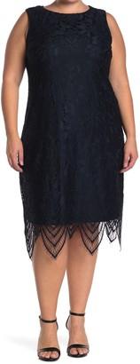 Sharagano Floral Lace Sleeveless Scalloped Sheath Dress