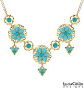 Lucia Costin Necklace Adorned with Turquoise – Green Swarovski Crystals, Delicate Flowers, Filigree Elements and Fancy Charms; 24K Yellow Gold over .925 Sterling Silver; Handmade in USA