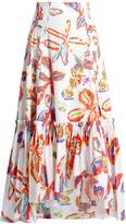 Peter Pilotto Floral-print ruffled-hem cotton-poplin skirt