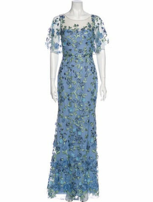 Marchesa Floral Print Long Dress w/ Tags Blue