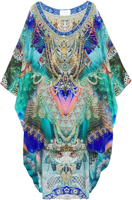 Camilla Asymmetric Crystal-embellished Printed Silk Crepe De Chine Coverup