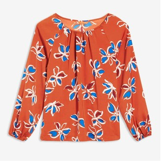Joe Fresh Women's Print Elastic Cuff Blouse, Orange (Size XL)
