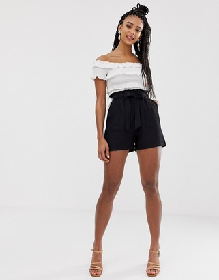 New Look shorts with paperbag waist in black