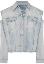 MM6 MAISON MARGIELA Convertible Distressed Denim Jacket - Mid denim