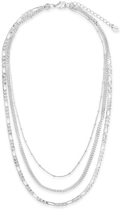 Sterling Forever Rhodium Plated Figaro Layered Necklace