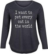 Instant Message Plus Women's Tee Shirts HEATHER - Heather Charcoal 'I Want to Pet Every Cat' Long-Sleeve Tee - Plus