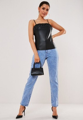 Missguided Black Faux Leather Ruched Bust Cami Top