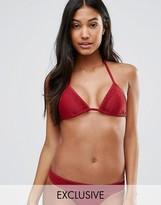 South Beach Mix And Match Red Triangle Bikini Top