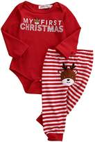 Ka Milka Baby My First Christmas 2 Piece Bodysuit & Striped Pant Set