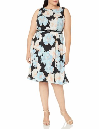 Ronni Nicole Women's Plus Size Sleevless Floral Belted Fit and Flare
