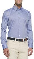Peter Millar Solid Oxford Dress Shirt, Blue
