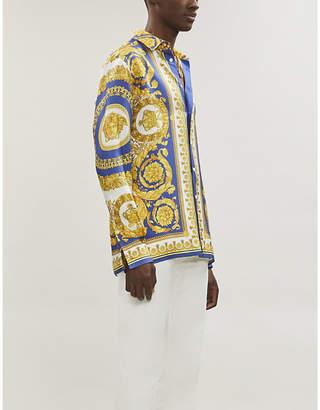 Versace Baroque-print regular-fit silk shirt