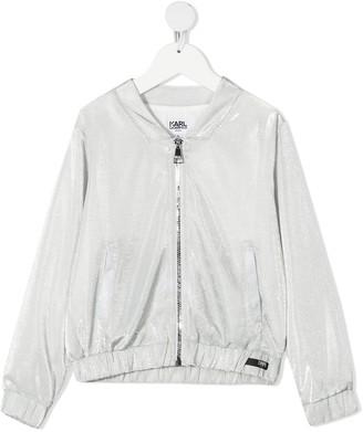 Karl Lagerfeld Paris Metallic Zipped Bomber Jacket