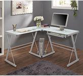 Glass Corner Computer Desk in White