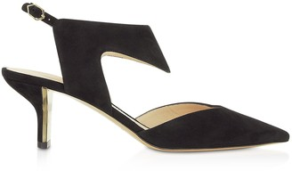 Nicholas Kirkwood Black Suede 60mm Leeloo Sling Pumps