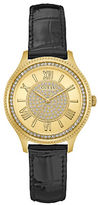 GUESS Madison Crystal Round Leather Strap Watch