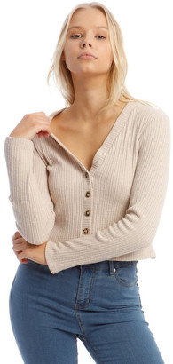 Miss Shop Neutral Cropped Cardigan