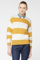 Lacoste L!VE Long Sleeve Bold Bi-Color Stripe Crewneck Sweater