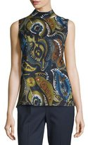 Lafayette 148 New York Fernanda Sleeveless Mock-Neck Printed Blouse, Galaxy Blue Multi