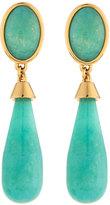 Nakamol Long Golden Double-Drop Agate Earrings, Turquoise