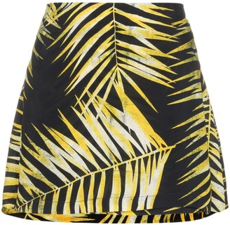 Double Rainbouu Leaf Print Wrap Mini-Skirt