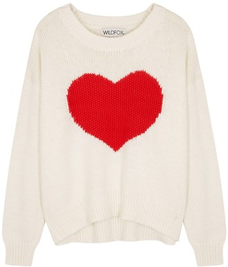 Wildfox Couture HeartStruck knitted cotton jumper
