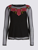 M&S Collection Embroidered Applique Mesh T-Shirt