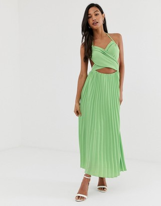 Fashion Union midi dress with pleated skirt and cut out detail-Green