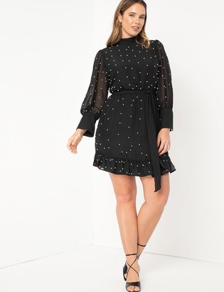ELOQUII Pearl Embellished Chiffon Dress