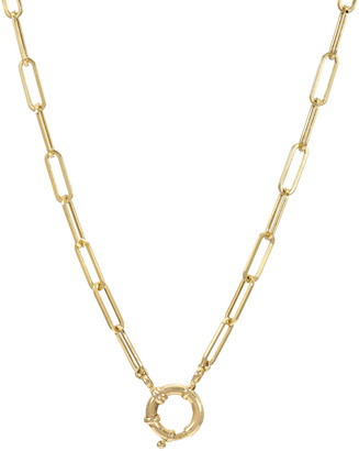 Zoe Lev Jewelry 14k Gold Paper Clip Large Clasp Chain Necklace