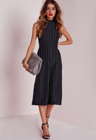 Missguided High Neck Pinstripe Culotte Romper Navy