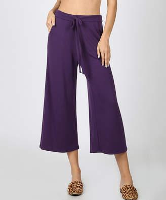Zenana Women's Capris DK.PURPLE_IPB - Dark Purple Tie-Waist Gaucho Pants - Women