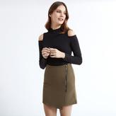 Apricot Khaki Asymmetric Mini Skirt