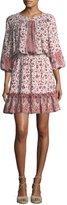 Shoshanna Pasadena Split-Neck Blouson Mini Dress