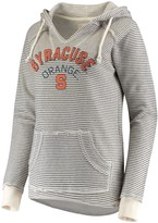 Unbranded Women's Blue 84 Cream Syracuse Orange Striped French Terry V-Neck Pullover Hoodie